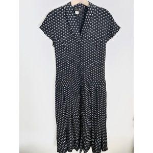 Ditsy Floral Vintage Button Down Midi Dress